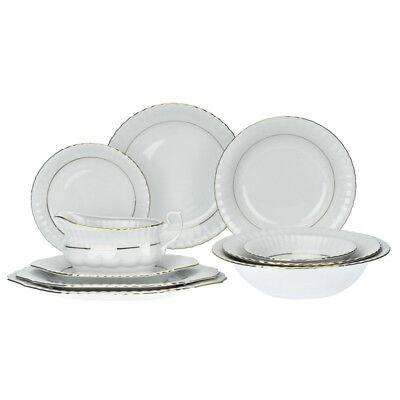 Gold-service Plate (44 Pcs Porcelain Dinner Set Tablerware Dinnerware Plate Service Gold Rimmed Gift)