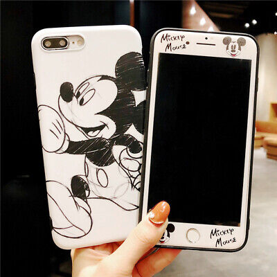 Set Disney Minnie Case for iPhone 8 7 6 Plus 360 Sketch Cover + Front Glass Film ()