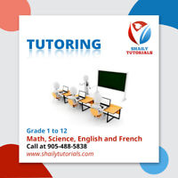 Tutoring from Grade 1-12 ( Math, Science, English & French )