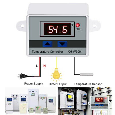 Incubator Temperature Digital Thermostat Control w/ Switch+Probe Controller Temperature Control Switch