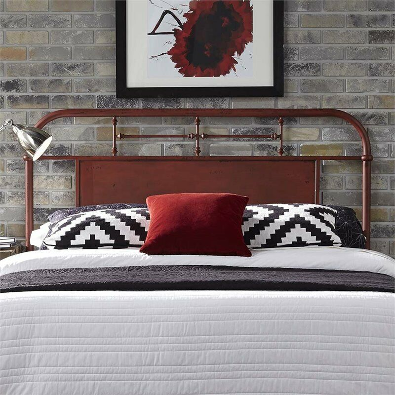 Bowery Hill Queen Metal Headboard in Distressed Red