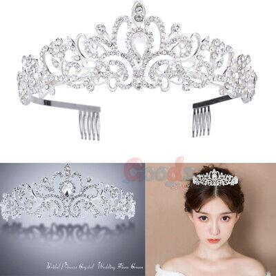 Wedding Bridal Princess Crystal Prom Hair Tiara Crown Veil Headband with Comb US](Tiara Veil)