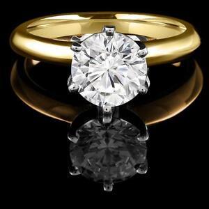 Round Diamond Engagement Ring 0.95CT Bague de de fiançailles en diamant rond