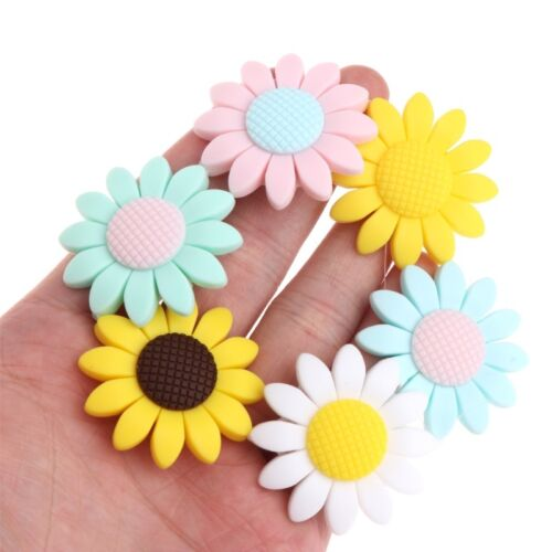 Silicone Beads Pendant Baby Teether Sunflower DIY Necklace S