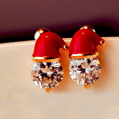 Crystal Santa Hat Christmas Earrings Novelty Stud Earrings Party Jewelry 1