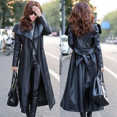 Black Leather custom made Trench Coat Women genuine lambskin Winter -