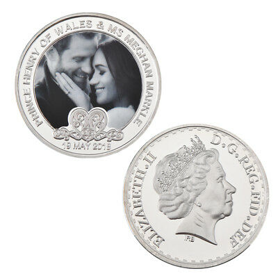 WR Prince Harry & Meghan Markle Royal Wedding UK Commemorative Silver Coin Medal