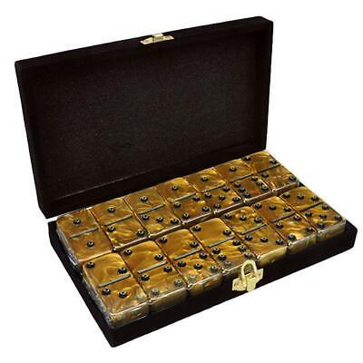 Domino Double Six 6 Gold Jumbo Tournament Professional Velvet Black Box Spinners