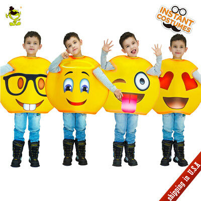Unisex Kids Popular Emoji Costume Carnival Party Funny Mobile Emoticon Cosplay  - Popular Kids Costume