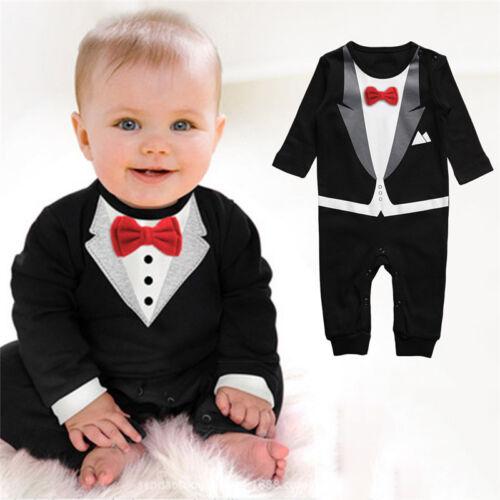 Baby Boys Formal Suit Party Wedding Tuxedo Gentleman Romper Jumpsuit Outfit US