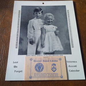 Veterans' Annual Calendar 1955 Prince Charles and Princess Anne