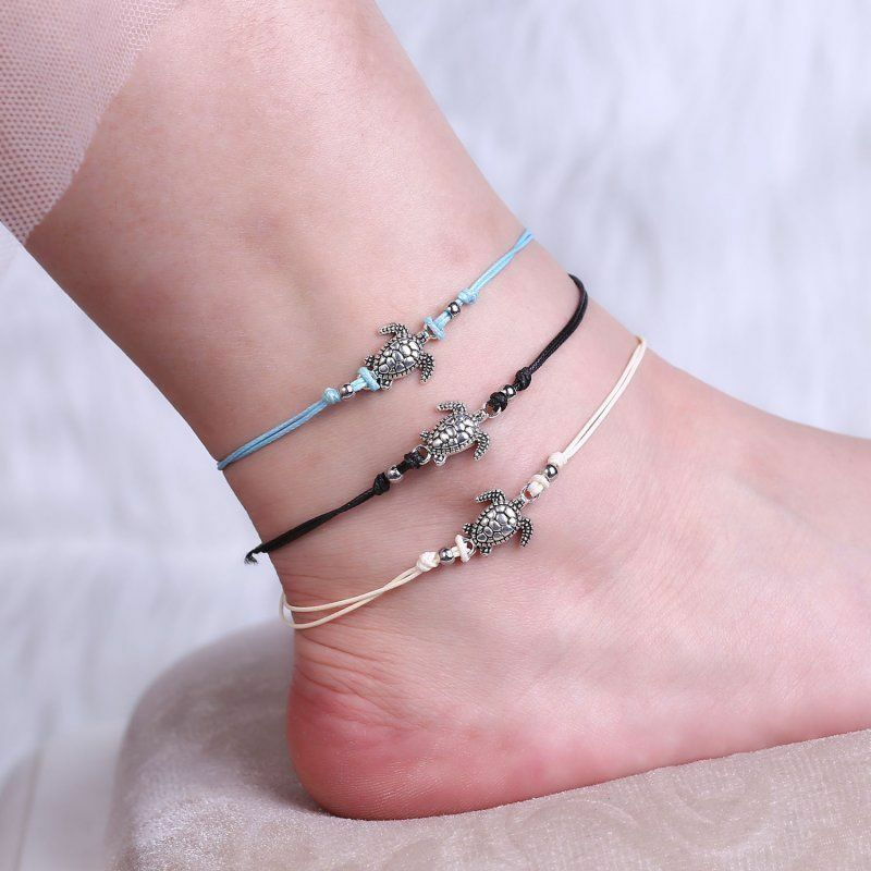 3pcs//set Multiple Layers Anklets Women Turtle Anklet Beach Bracelet Foot Jewelry
