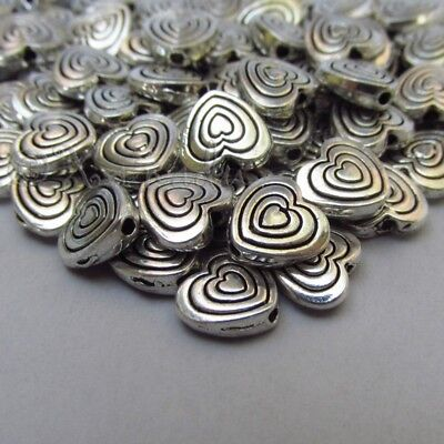 Heart Shaped 9mm Antiuqed Silver Plated Spacer Beads B2149 - 20, 50 Or (Heart Shaped Beads)