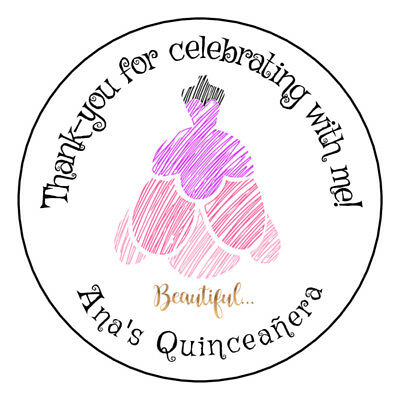 24 2 inch Quinceanera Quinceañera Favors Tags Labels Stickers 15th personalized