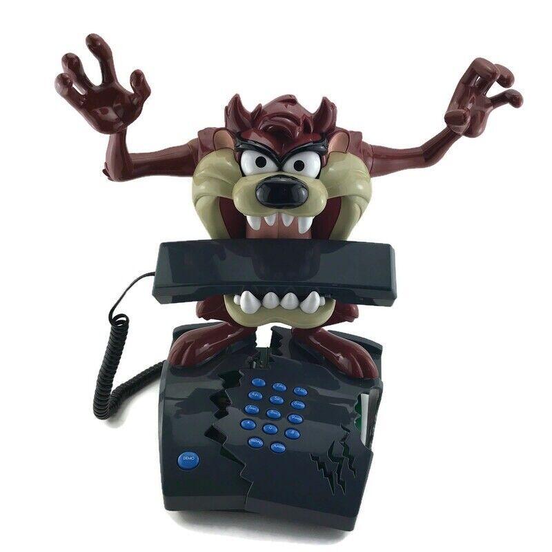 Vintage Tazmanian Devil Telemania Talking Animated Telephone Taz Tested Working