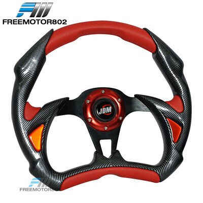 - Steering Wheel Battle Type 320mm Carbon Fiber Red With Horn JDM Logo PVC Leather