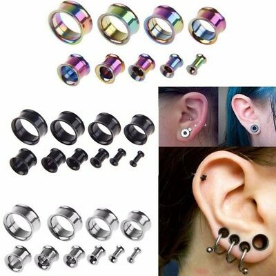 - 2Pc Surgical Steel Ear Gauges Double Flared Flesh Tunnel Plug Stretcher Expander