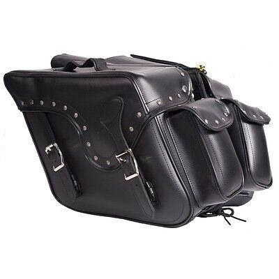 LARGE QUICK DETACH STUD  MOTORCYCLE PVC LEATHER SADDLEBAGS UNIVERSAL FIT BLACK (Detachable Leather Saddlebags)