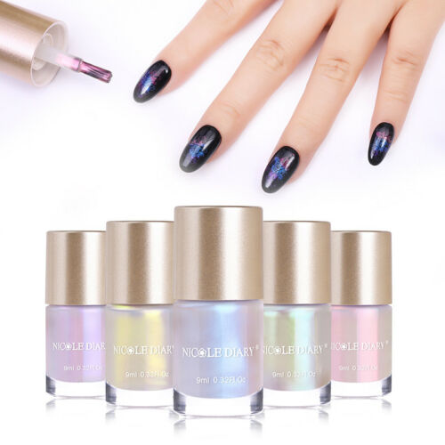 9ml NICOLE DIARY Nail Art Stamping Polish Series Shell Glitter Varnish