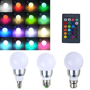 16 couleur changeante rgb led ampoule lampe lumi re t l commande b22 e27 e14 ty - Lampe led couleur changeante ...