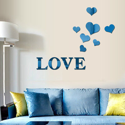 LOVE Heart-Shaped Mirror Art Removable Wall Sticker Mural Decal Home Room Decor (Heart Shaped Mirror)