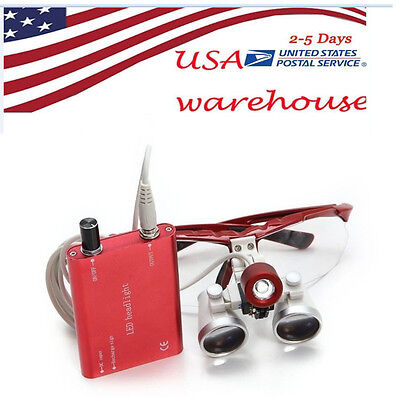 From Usa Ce Dental Loupes 3.5x 420mm Led Head Light Surgical Medical Binocular