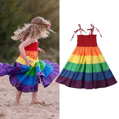 US Stock Newborn Kid Baby Girls Rainbow Pageant Princess Long Maxi Dress - Girls Rainbow Dress
