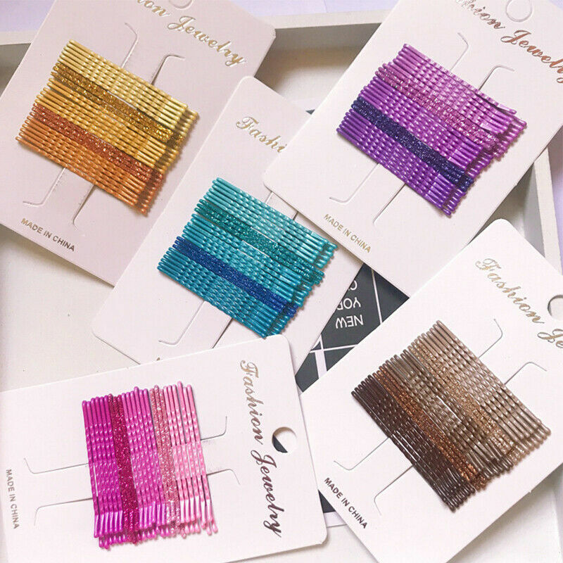 24pcs Candy Color Hair Clips Bobby Pins Accessories Wavy Hai