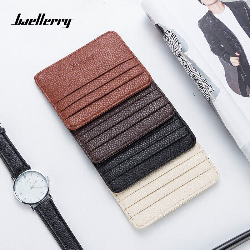 Candy Color Slim Card Wallet Leather Small Front Pocket Wall