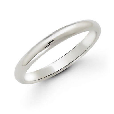 NEW MENS WOMENS 10K SOLID WHITE GOLD 2 MM COMFORT FIT PLAIN WEDDING BAND -