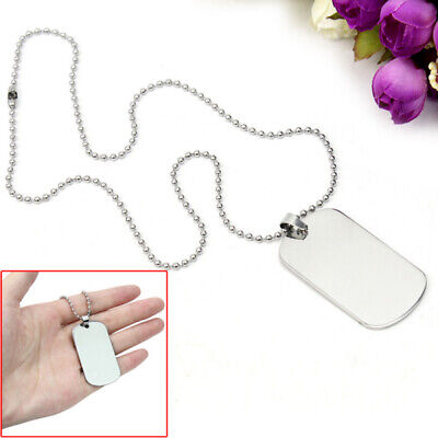 Charm Silver Tone Dog Tag Plain Stainless Steel Pendant Chain Necklace For (Plain Dog Tag Necklace)