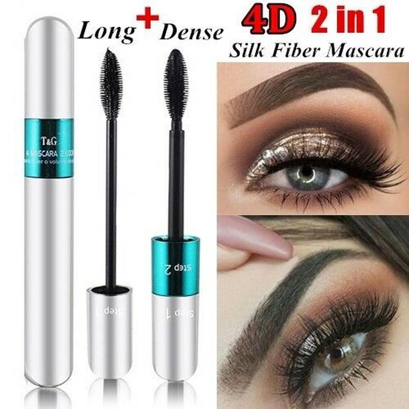 QIC 2 in 1 False Eyelashes 4D Silk Fiber Long Lasting Length