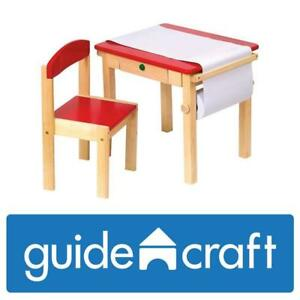 NEW Guidecraft Toddlers Art Table  Chair Set Red - W/Storage Compartment Kids Furniture, Classroom School Supply Cond...