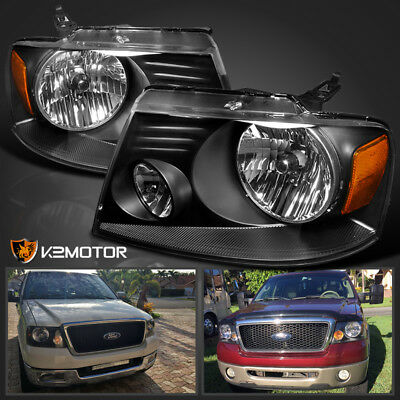 2004 2008 Ford F150 Truck 06 08 Lincoln Mark Lt Crystal Black Headlights