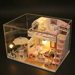 Hoomeda M033 Pink Loft DIY House met meubels Music Light