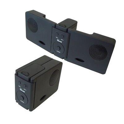Aufklappbare kleine Stereo Doppel ToGo Lautsprecher mit AUX 3,5mm Klinke Kabel
