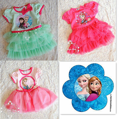 Frozen Girls Kids Baby Princess Tutu Fancy Dress Costume Outfit Skirt Anna Elsa