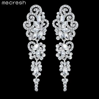 Mecresh Silver Floral Bridmaid Earrings Crystal Engagement Wedding Jewelry EH295