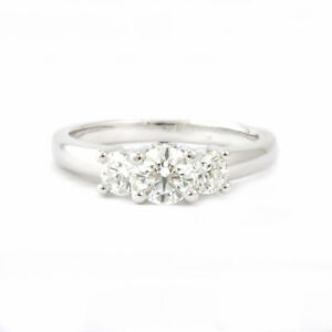 BIRKS Platinum 3-stone Diamond Ring, 0.89tw, Estate #00000413