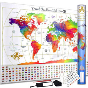 """Scratch Off World Map - Special """"Water Colours"""" Edition"""