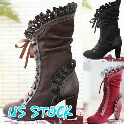 Leaf Boots Vine Curl Heel Knee High Steampunk Boots Cosplay Gothic Winter Snow