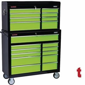 "Draper Tools Extra Wide 42"" Tool Chest 19 Drawer 11 DRAWER ROLLER CABINET and 8 DRAWER TOOL CHEST"
