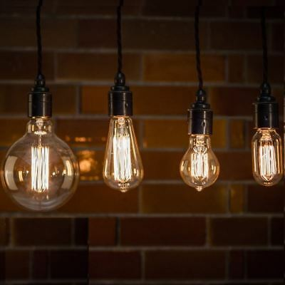 Vintage Industrial Filament Light Bulbs Squirrel Cage Antique Style 40W & 60W