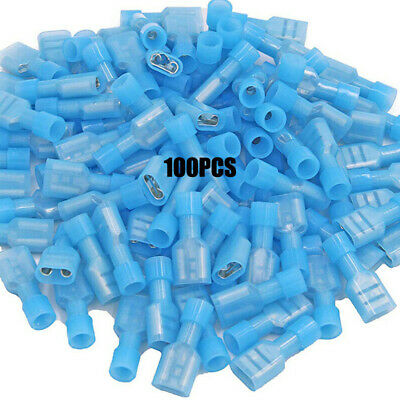 100 Blue Fully Insulated Female Electrical Wire Spade Crimp Connectors Copper