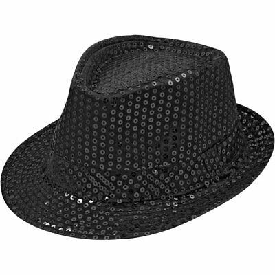 Pailletten Hut Schwarz Herren Damen Kinder Karneval Fasching Kostüm Trilby