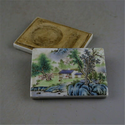 CHINESE OLD FAMILLE ROSE COLORED LANDSCAPE PATTERN PORCELAIN INKPAD BOX Ink Pad Old Rose