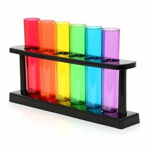 Test Tube Plastic Shooters Shot Glasses Set & Stand Neon Stag & Hen Do Party