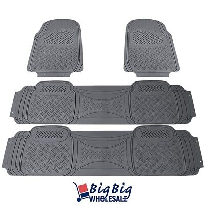 All Weather Heavy Duty GRAY 4PCS 3D PVC Rubber Floor Mats