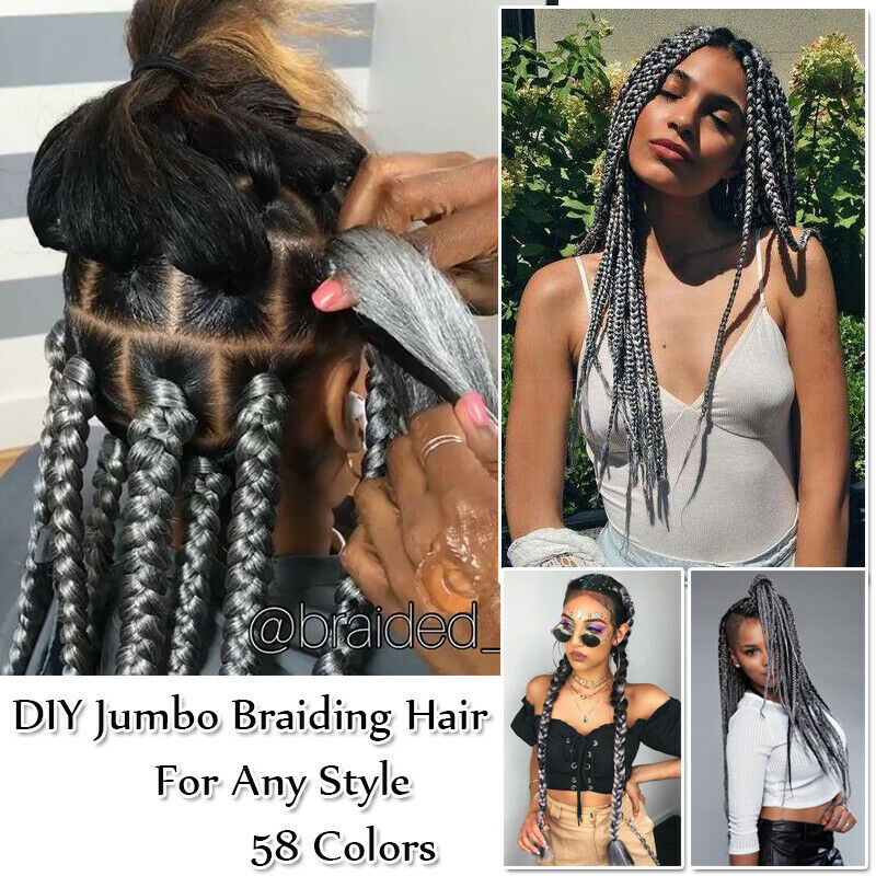 Jumbo Hair Extensions Long Black Braiding Hair Expression