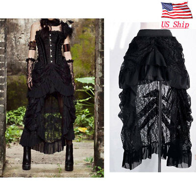 Women's Gothic Asymmetrical Lace Skirt Steampunk Ruffle High-Low Folded Dress US (Steampunk Skirts)